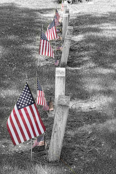 Photograph - Old Tombstones And American Flags by James BO Insogna
