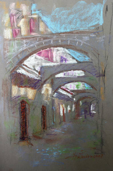 Old Town Wall Art - Pastel - Old Town In Rhodes  Greece by Ylli Haruni