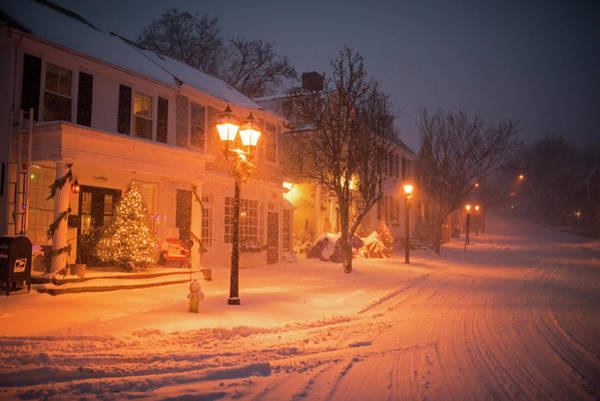 Photograph - Old Town Marblehead Snowstorm Looking Up At Abbot Hall Christmas Trees by Toby McGuire