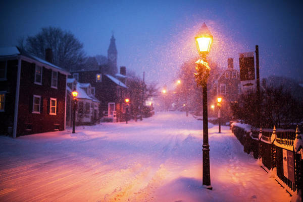 Photograph - Old Town Marblehead Snowstorm Looking Up At Abbot Hall by Toby McGuire