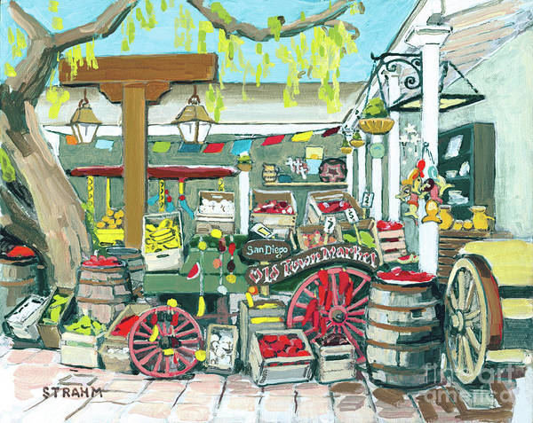 Red Wagon Painting - Old Town Market, Old Town, San Diego, California by Paul Strahm