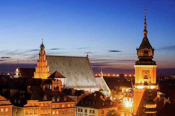 Wall Art - Photograph - Old Town Of Warsaw Twilight Skyline In Poland by Artur Bogacki