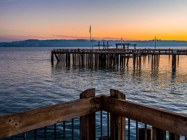 Photograph - Old Town Pier During Sunrise On Commencement Bay by Rob Green