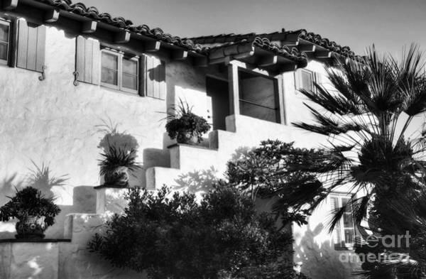 Photograph - Old Town San Diego Shadows Bw by Mel Steinhauer