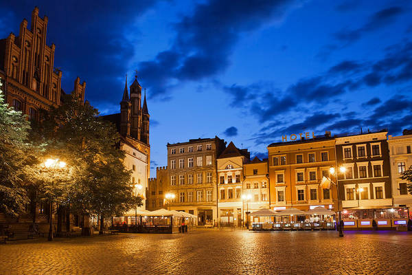 Tenement Photograph - Old Town Square By Night In Torun by Artur Bogacki