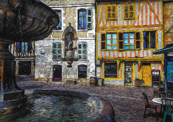Town Square Digital Art - Old Town Square by Erzebet S