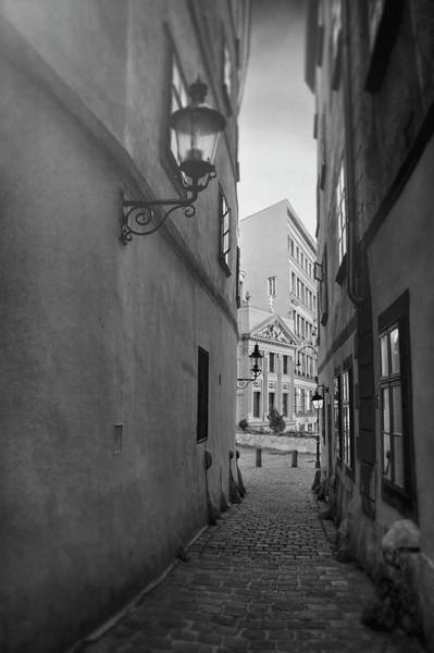 Vienna Photograph - Old Town Vienna Narrow Alley In Black And White  by Carol Japp