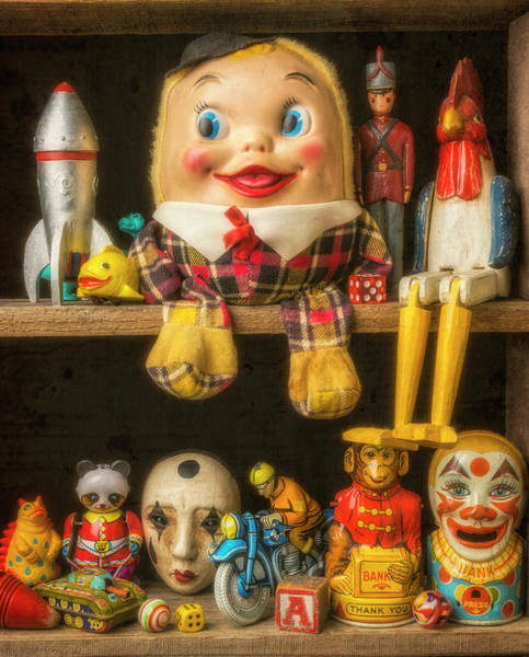 Wall Art - Photograph - Old Toys Sitting On Shelf by Garry Gay