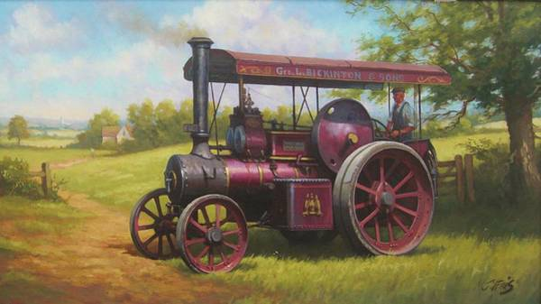Wall Art - Painting - Old Traction Engine. by Mike Jeffries