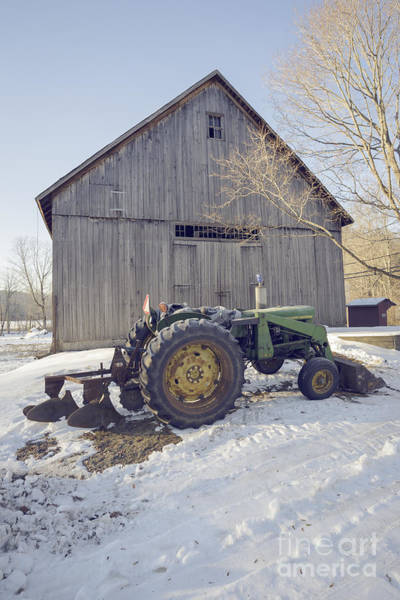 Photograph - Old Tractor By The Barn Winter Etna by Edward Fielding