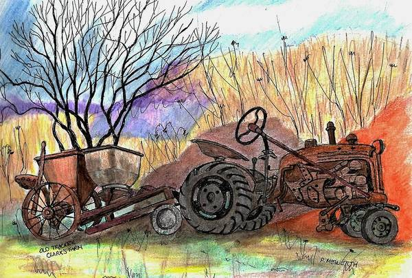 Old Tractor Drawing - Old Tractor Danvers Ma by Paul Meinerth
