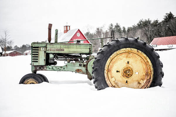 Photograph - Old Tractor In The Snow Quechee Vermont by Edward Fielding
