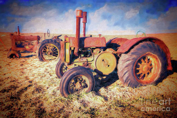 Wall Art - Painting - Old Tractors Ready To Work Ap by Dan Carmichael