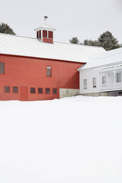 New England Barn Photograph - Old Traditional New England Farm In Winter by Edward Fielding