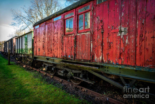 Red Wagon Wall Art - Photograph - Old Train Wagon by Adrian Evans
