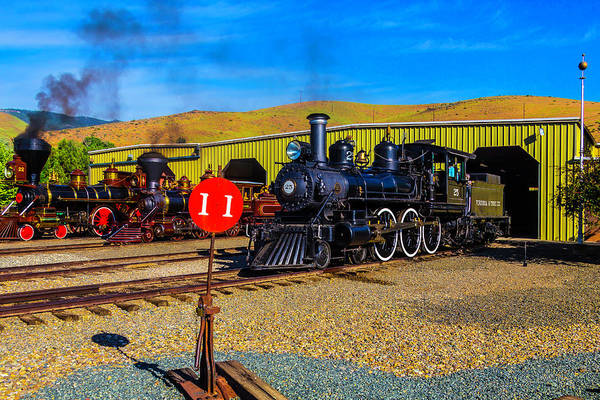 Wall Art - Photograph - Old Trains In Barn Yard by Garry Gay