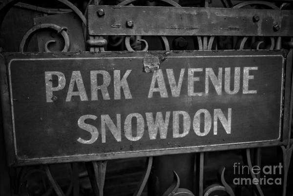 Wall Art - Photograph - Old Trolley Station Sign Park Avenue by Edward Fielding