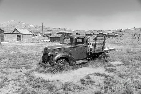 Photograph - Old Truck At The Ghost Town Of Bodie California Dsc4380bw by Wingsdomain Art and Photography