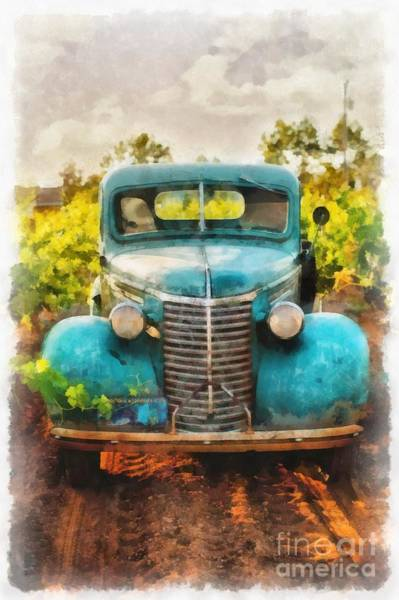 Old Chevy Truck Painting - Old Truck At The Winery by Edward Fielding