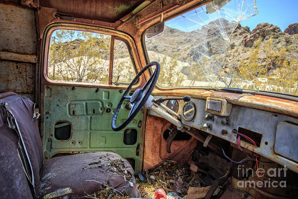 Wall Art - Photograph - Old Truck Interior Nevada Desert by Edward Fielding