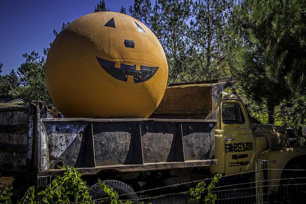Wall Art - Photograph - Old Truck With Large Pumpkin by Garry Gay
