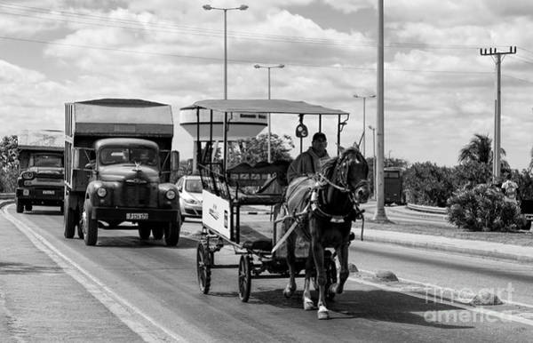 Photograph - Old Trucks And A Horse Carriage by Les Palenik