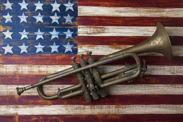 Landmarks Photograph - Old Trumpet On American Flag by Garry Gay
