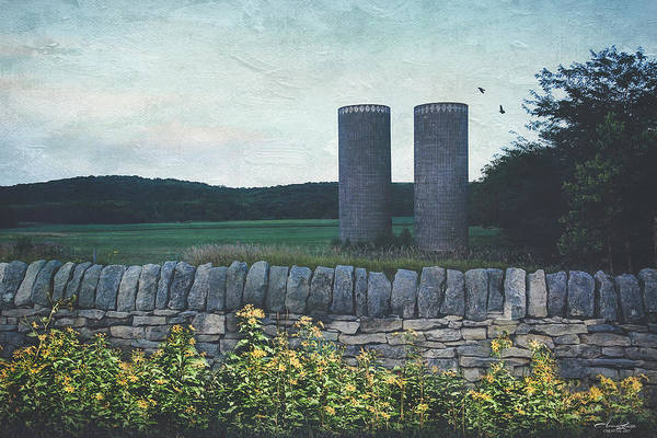 Photograph - Old Twin Silos And Rock Fence by Anna Louise
