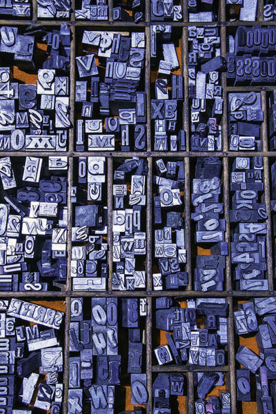 Compartments Photograph - Old Typeface by Garry Gay