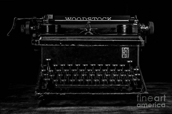Photograph - Old Typewriter Black And White Low Key Fine Art Photography by Edward Fielding