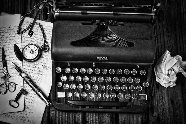 Typewriters Wall Art - Photograph - Old Typewriter With Letters by Garry Gay
