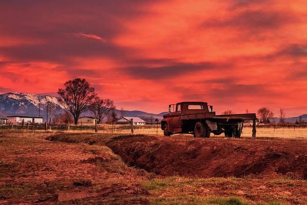 Herron Photograph - Old Valley Truck Watching The Morning Skyfire by Mike Herron
