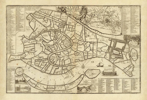 Wall Art - Drawing - Old Venice Map By Nicolas De Fer - 1725 by Blue Monocle