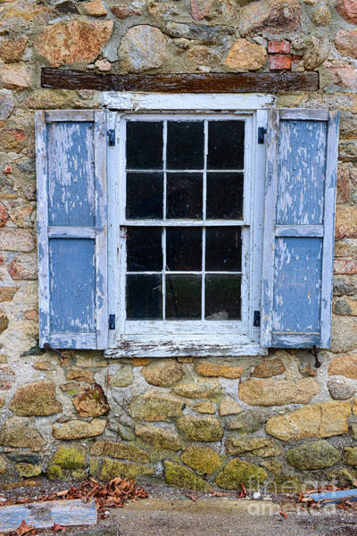 Robin Egg Blue Photograph - Old Village Window With Blue Shutters by Paul Ward