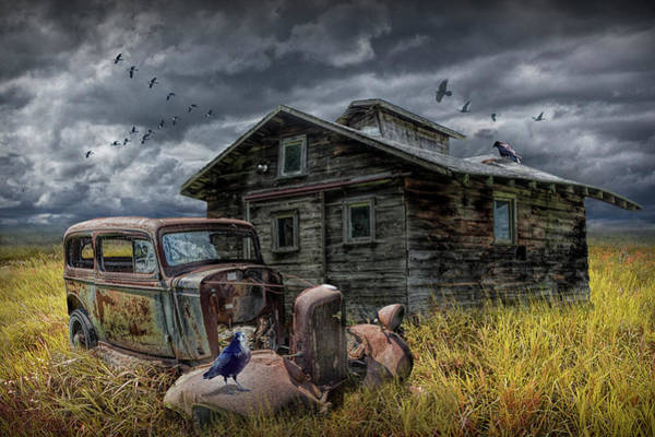 Photograph - Old Vintage Automobile Junk And Decrepit Building With Flying Geese And Ravens by Randall Nyhof