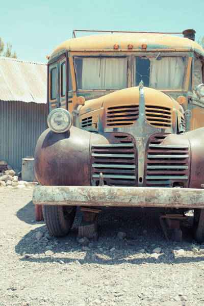 Photograph - Old Vintage Dodge School Bus Camper In The Desert by Edward Fielding