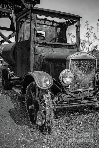 Wall Art - Photograph - Old Vintage Ford Model T Water Truck Black And White by Edward Fielding