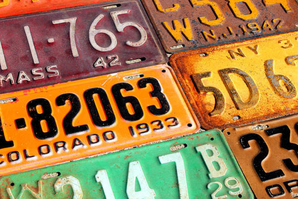 New Jersey Mixed Media - Old Vintage License Plates Number 4 by Design Turnpike