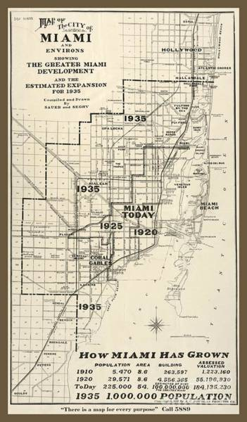 Wall Art - Photograph - Old Vintage Miami City Map by Pd