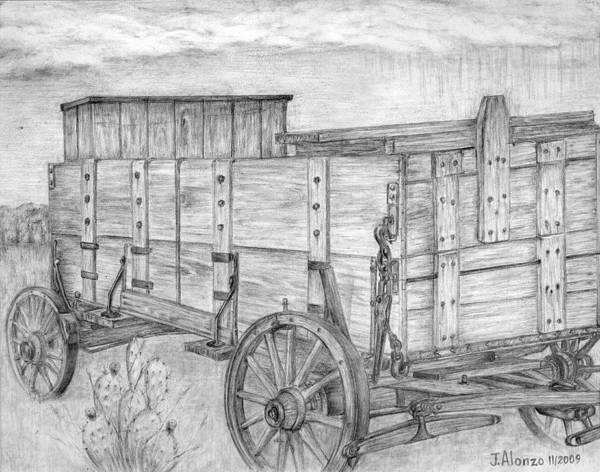 Alonzo Drawing - Old Wagon by Jesse Alonzo