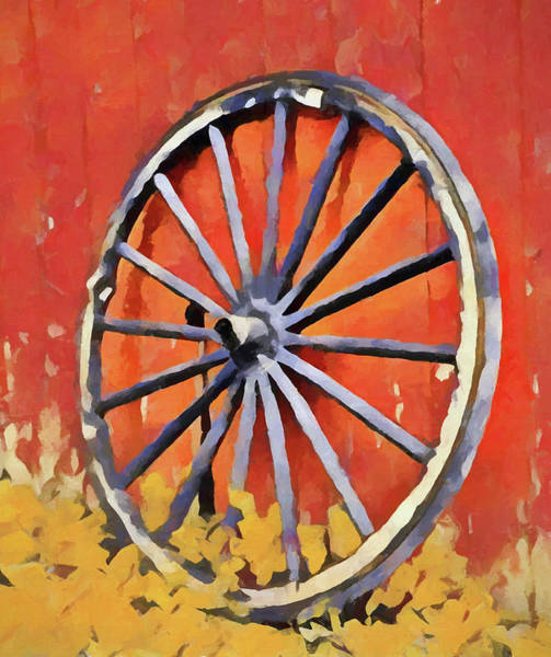 Painting - Old Wagon Wheel In Autumn by Dan Sproul