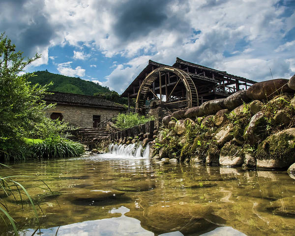 Photograph - Old Water Mill In Baoxi by William Dickman