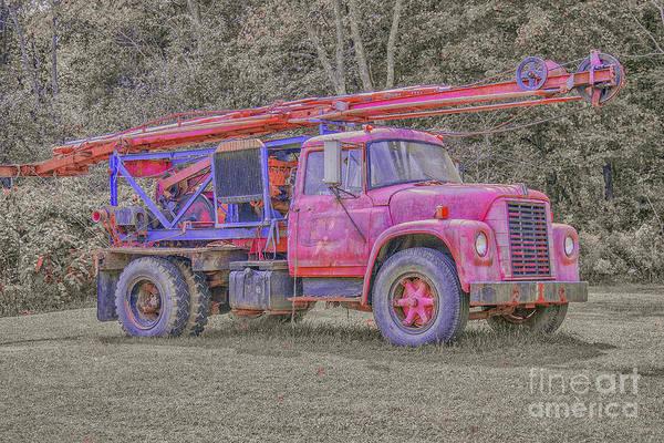 Heavy Duty Truck Wall Art - Digital Art - Old Well Drilling Truck by Randy Steele