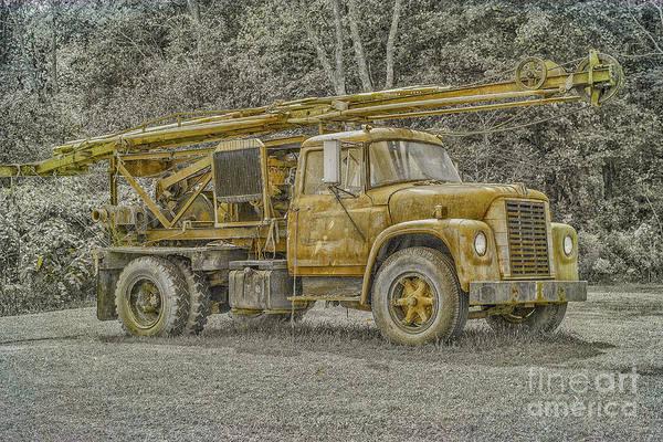 Heavy Duty Truck Wall Art - Digital Art - Old Well Drilling Truck Sepia by Randy Steele