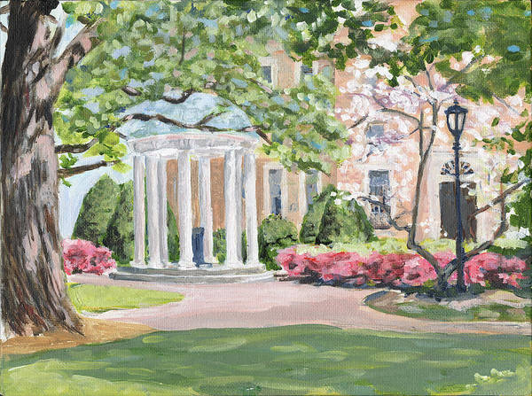 College Campus Painting - Old Well Facing South by Jami Burns