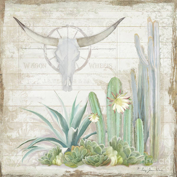Boho Wall Art - Painting - Old West Cactus Garden W Longhorn Cow Skull N Succulents Over Wood by Audrey Jeanne Roberts