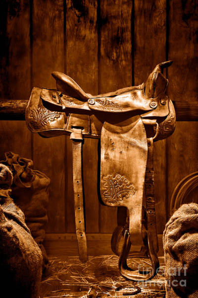 Saddle Photograph - Old Western Saddle - Sepia by Olivier Le Queinec