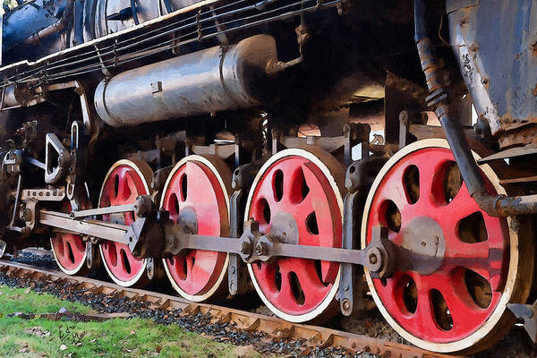 Freight Trains Painting - Old Wheels Just Keep Turning by William Mace