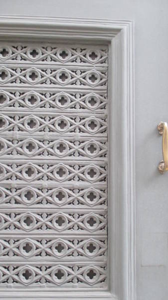 Detail Photograph - Old White Door In Lisbon by Anamarija Marinovic