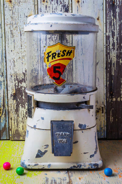 Wall Art - Photograph - Old White Gumball Machine by Garry Gay